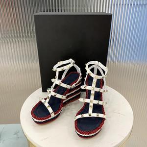 디자이너 Rockstud 하이트 에스파 드리 소 가죽 신발 리벳 버클 원래 가죽 신발 웨딩 파티 신발 상자와 높은 뒤꿈치