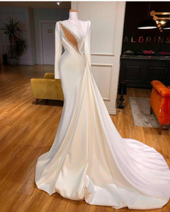 Long Sleeve Evening Dresses with slid train High Neck Satin Ruffle Beaded Bridal Reception Gowns sexy keyhole Mermaid Prom Dress
