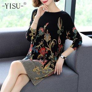 Yisu moda floreale stampa maglione vestito donna manica lunga allentata casual lunghi jumper donne autunno inverno maglione vestito donna 201221