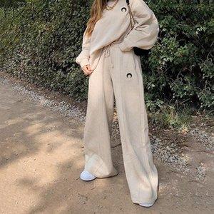 Fixsys Casual Pantalones heterosexuales de algodón suelto para mujer coreano Solid Lace Up StreetPants 2020 Otoño Invierno Actividad Pantalones de pierna ancha
