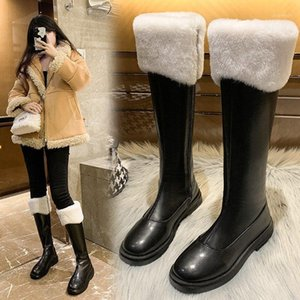 2020 Women's Mid-Calf Boots Leather Fashion Women Long Boots Autumn Round Toe Ladies Platform Shoes Botas Mujer1