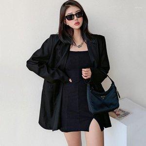 Женские костюмы Blazers Черная куртка Женщины Blazer Blazer Femme Пальто в Notch Osapels Двухборнящая мода Готический 3WZT1