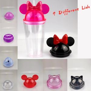 스트로 450ml 마우스 귀 머그잔 아크릴 플라스틱 물 병 귀여운 아이 컵 EWD2331 9 적합 뚜껑 15온스 지우기 마우스 귀 텀블러