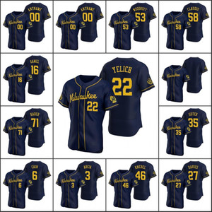 2020 Men Personalizzato Donne Gioventù Milwaukeebrewers # 22 Christian Yelich 52 Jimmy Nelson 27 Zach Davies Navy Authentic Jersey