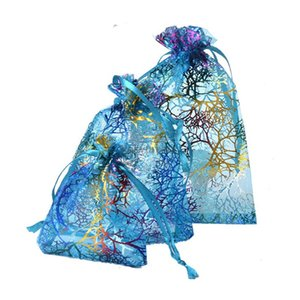 3Size Coralline Organza Bag Jewelry Pouch Wedding Party Favors Gift Holder Ocean Theme Party Table Sweet Decors Birthday Candy Bag Wholesale