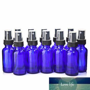 12шт 30ml Пустой Перезаправляемые Cobalt Blue Glass Spray Bottle контейнеры с черным мелкодисперсный туман опрыскиватель для эфирных масел Духи