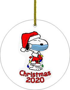 17style 2020 Navidad adornos de cerámica de 3 pulgadas árbol redondo de la Navidad Colgante Santa que lleva una máscara de Navidad Decoración GGA3786-2