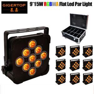 TIPTOP 10pcs / lot RGBWA 5IN1 Plano de Slim alumínio PAR LED de 140W Firmeza Durabilidade DMX 5 / 9CH Plano Led Par Can Equipamentos de Produção