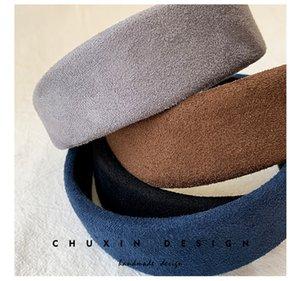 2020 Herbst-Winter-Frauen-Mädchen-Mode-Haar-Stöcke Suede Stoff bunte Stirnband Trendy Damen Schüler-Haar-Band-Verzierungen Spielzeug LY10203