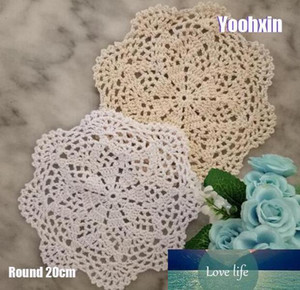 Modern Lace Round cotton table place mat pad Cloth crochet placemat cup mug wedding tea coffee coaster handmade doily kitchen