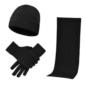 3pcs Women Men Windproof Cold Weather Thermal Skiing Gift Hat Scarf Gloves Set Warm Winter Elastic Knitted Beanie Outdoor Sports