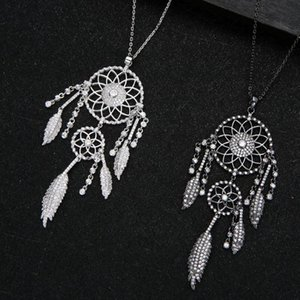 Luxury Dreamcatcher Stackable Pendant Necklace Full Cubic Zircon Fashion Charm Women Party Jewelry Gift 2020 D1416