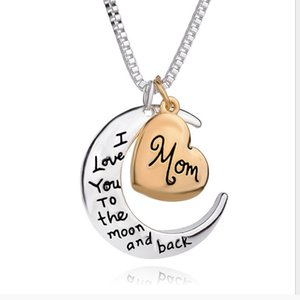 2020 new arrival heart jewelry I love you to the moon and back mom pendant necklace mother's day gift wholesale fashion jewelry ZJ-0903221