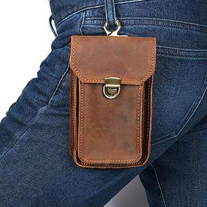 Cobbler Legend Leather Men Casual Design Multifunction Small Waist Bag Cowhide Fashion Hook Bag Waist Belt Pack Phone Pouch