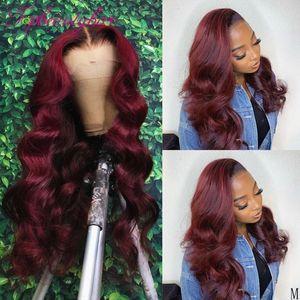 99J бордовый кружевной фронтальные парики цветные кружевные симуляторы человеческие парики волос для женщин Оммре бордовый синтетический кружевной парики детские волосы
