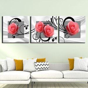 3 Pieces Canvas Painting Pink Rose Flower Posters Home Wall Decor Canvas Art HD Print Wall Pictures For Child Bedroom