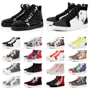 Com Box Christian Louboutin CL red bottoms luxury Designer Sneakers Platform Casual sapatos tamanho grande nos 13 All Black Red bottoom Homens Mulheres Spikes Botas