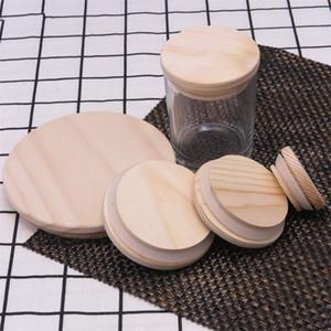 Wooden Mason Jar as tampas 8 tamanhos tampas de garrafa de madeira reutilizáveis ambientais com anel de silicone Garrafa de vidro tampa de vedação tampa de poeira 277 N2