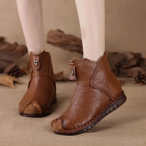 and Autumn Winter New Handmade Retro Women's Boots 2020 Ethnic Style Short Boots Soft Sole Comfortable Large Size Women's Shoes