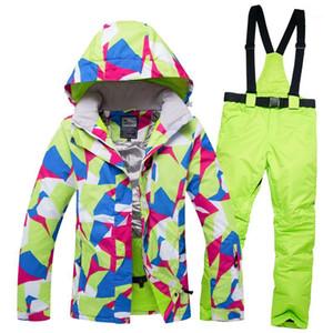 2020 New Ski Suit Women Mountain Skiing jacket + Snowboard Pants Female Waterproof Waterproof Winter Warm Snow Jacket and Pants1