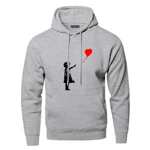 World Peace Hoodies Sweatshirts Men Kcco Balloon Girl Banksy Love Hooded Sweatshirt Hoodie Winter Autumn Warm Print Streetwear 201022