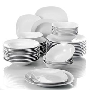 Malacasa ELISA 48 pièces Porcelaine Porcelaine Dîner Ensemble de céréales Bols à céréales Dîner Soupe dessert Assiettes Set service pour 12 personne 201116