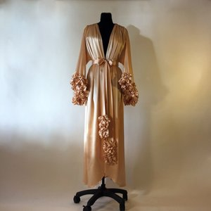 Champagne Lingerie Bathrobes Women Dresses Prom Gowns V Neck Photo Shoot Lady Sleepwear Sheer Nightgown Bridesmaid Shower