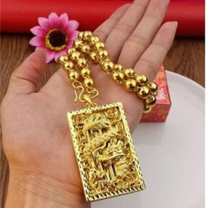 chaming men's gold filled hollow dragon (6*4cm) pendant necklace