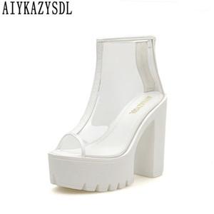 Aiykazysdl Женщины Clear Обувь Peep Toe Boots Boots Прозрачная Бутри Гладиаторская Обувь Ультра очень высокий каблук толщиной Hees1