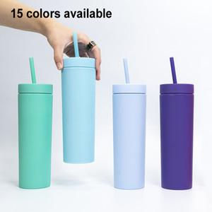 BPA GRATUIT 16OZ ACRYLIC SKINNY GUNBLER HAUTE QUALITÉ MATTE MATTE Tasse à double paroi 500 ml tasse d'eau de boisson d'eau potable avec paille de couvercle en plastique