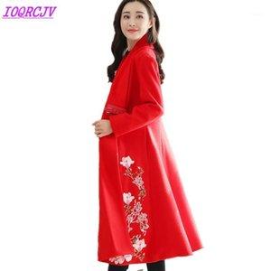 2020 осень зима женщин шерстяной куртка пальто мода бутик вышивка шерстяная ткань верхняя одежда плюс размер свободного пальто ioqrcjv q1381
