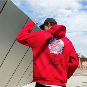 2021 Nueva Moda Fresco Hip Hop Con Sudaderas Con Sudaderas Casual Japonés Sweatshirts Streetwear Hombres Mujeres Jersey Harajuku Devil Hoodie Hombre Qhbw
