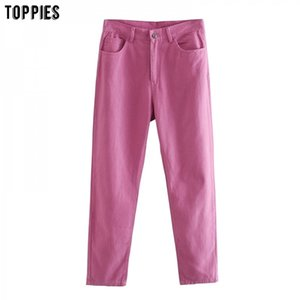 TOPPIES Women cotton pants full length trousers High Waist Straight pant streetwear 201110