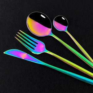 24pcs Dinnerware Gold Tableware1 Pink Stainless Spoons Kitchen Set Coffee Dinner Knives Steel Flatware Cutlery Forks Set Phfqu