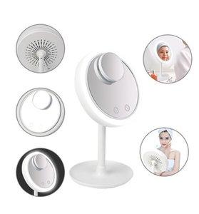 Best Seller Smart Touch Desktop Vanity Mirror Beauty Breeze Cosmetic LED Light Fan Makeup Mirror 5X Make Up Mirror with Fan