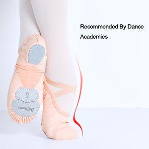 Dance Academy Três macia Dividir Sole Ballet Shoes Adult profissionais Meninas Mulheres esticar tecido de malha Splice dança Chinelos 201017