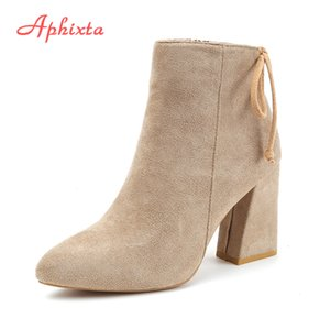Aphixta Women Classics Ankle Boots Kid Suede Soft Shoes TPR Anti-Skid Women Boots High Heels Zipper Causal Ladies Footwear 201019