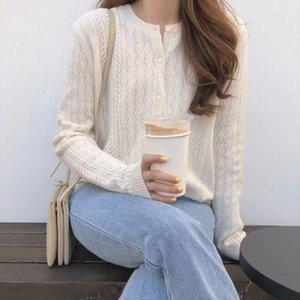 Beliarst 2021 Primavera y otoño Nuevo Hielo Seda Cardigan Womens Cuello redondo Suéter suelto Hollow Punto Inferero Suéter