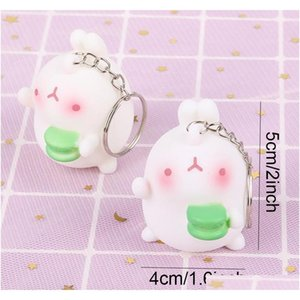 Lovely Mini Rabbit Keychain Car Decoration Keyring 6 Styles Cake Radish Rabbit Pendant Key Chains Bag Accessories Couple qylrCI sweet07