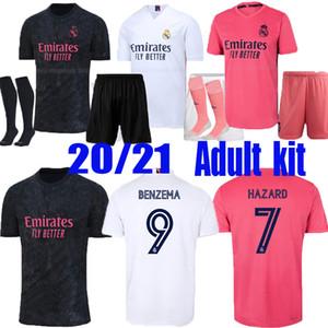 Взрослый комплект Реал Мадрид Футбол Джерси Дом Отель 20 21 Опасность Asensio Sergio Ramos CamiSeta 2020 2021 Vini Jr Mendy Футбольные рубашки