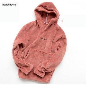 beachapche 2020 Outono Inverno mulheres camisola linda cor sólida Fleece Hoodies Casual Kawaii pelúcia Sweat Quente Mulheres