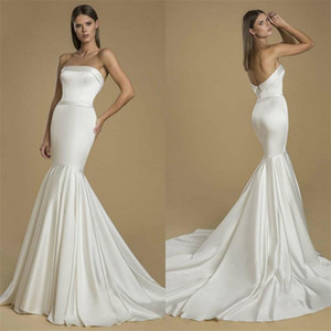 Elegant Cheap Simple Mermaid Wedding Dresses Strapless Satin Floor Length Wedding Dress Bridal Gown Backless Vestidos De Novia Custom