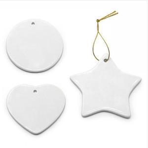 Blank White Sublimation Anhänger DIY Keramik Weihnachtsbaum Ornament Heat Transfer Printing hängende Weihnachts Keramik Dekoration EEC3358