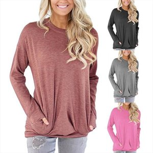 Sale Hot Attractive Womens Fashion Casual Long Sleeve Cotton Solid Loose Pockets Blouses Tops New Arrival
