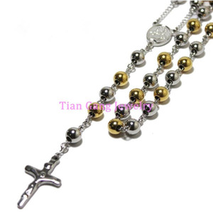Gold Silver Color 4mm 6mm 8mm Round Bead Rosary Necklace Stainless Steel religious Jesus Crucifix Cross Chain for women Men
