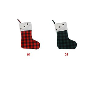 Christmas Button Plaid Canvas Ornaments Red White Black Xmas Hanging Stocking Christmas Lattice Socks Party Decoration sea shipping BWD3111