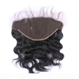 13x6 Orecchio all'orecchio Pizzo frontale Chiusura con candeggiati Nodi colore naturale 1B onda brasiliana del corpo umano di Remy estensioni dei capelli