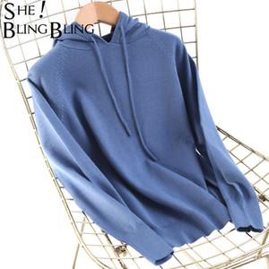 SheBlingBling sólido de punto Jumper otoño invierno Mujeres camiseta de manga larga con capucha Jerseys Sudaderas Casual Womens Jerseys 201019