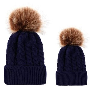 2020Warm Knitted Hat Cute Kids Girls Hats Mother Daughter Family Matching Children Hats And Caps Winter Newborn Baby Hat Beanie