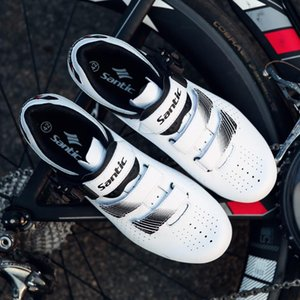 Sapatos de bicicleta masculinos Santics Esportes ao ar livre Respirável Anti-Skid Fivela de Paládio Sapatos Mágicos Luz Tamanho Asiático WS20012